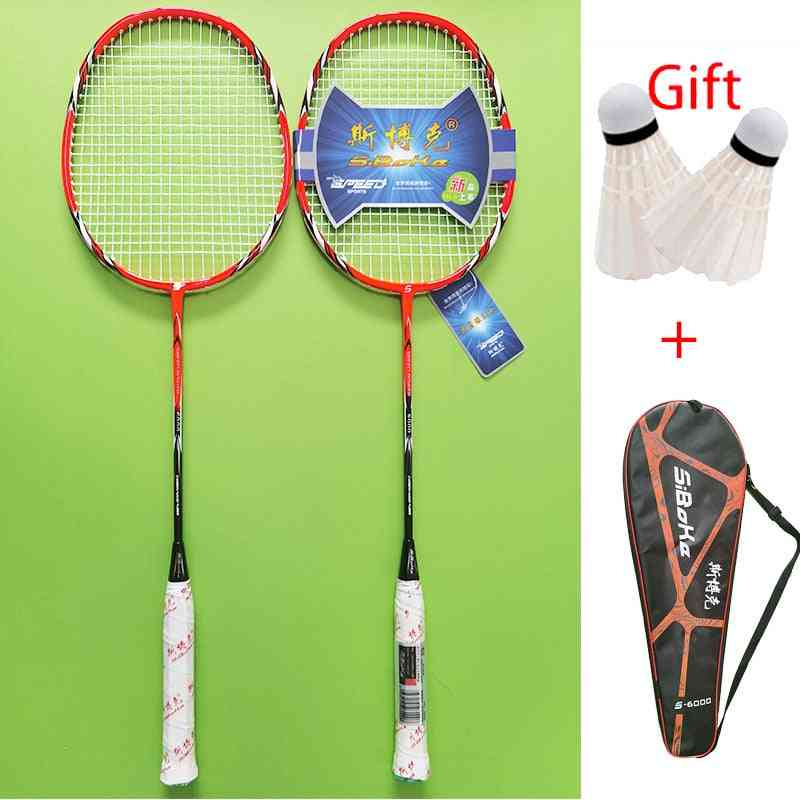 Professional Carbon Integrated Badminton Rackets Set With 2 Shuttlecock Bronzing Spray Paint Bag Packing Outdoor