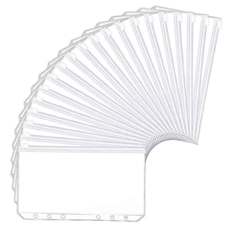 Holes Binder Pockets Translucent Plastic Binder Zipper
