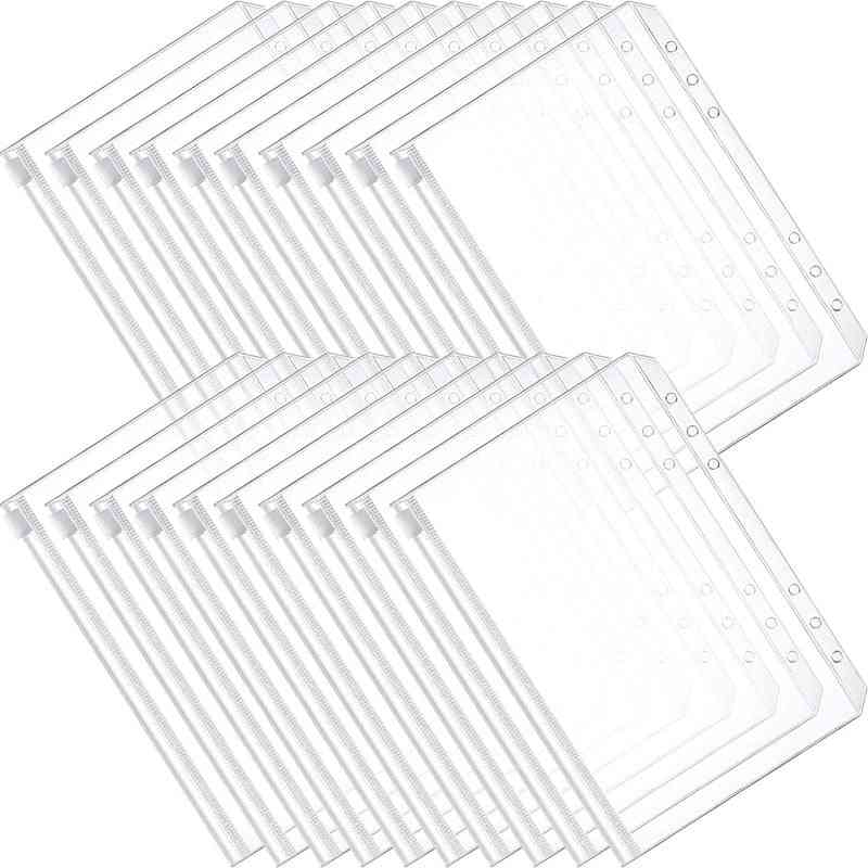 Binder Pocket 6 Holes Loose Leaf Bags A6 Binder Zipper Folders Plastic Document Bags For Office School Supplies