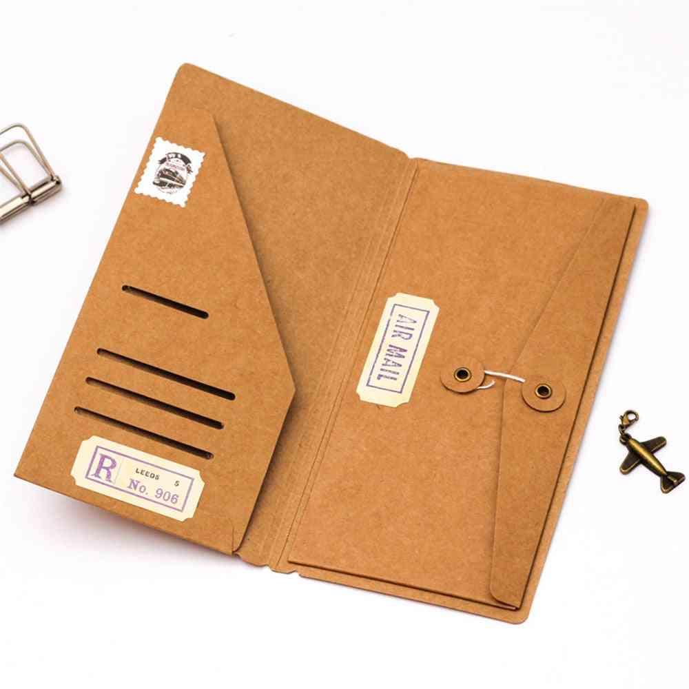 Kraft Paper Envelope Ticket Cards Storage Bag For Midori Travelers Notebook Diary Refills Retro Planner Accessories
