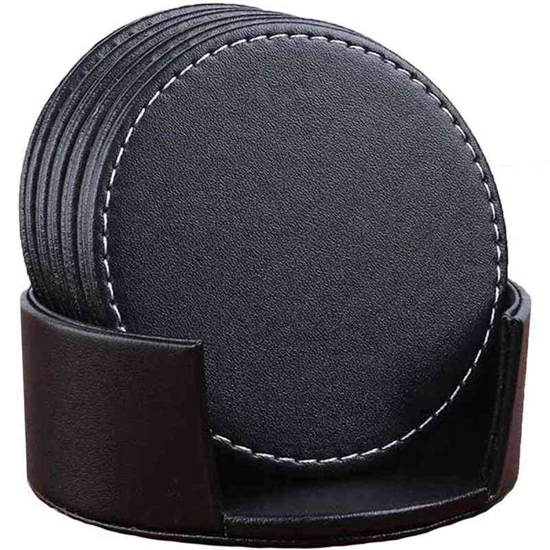 Leather Drink Coasters Round Cup Mat Pad