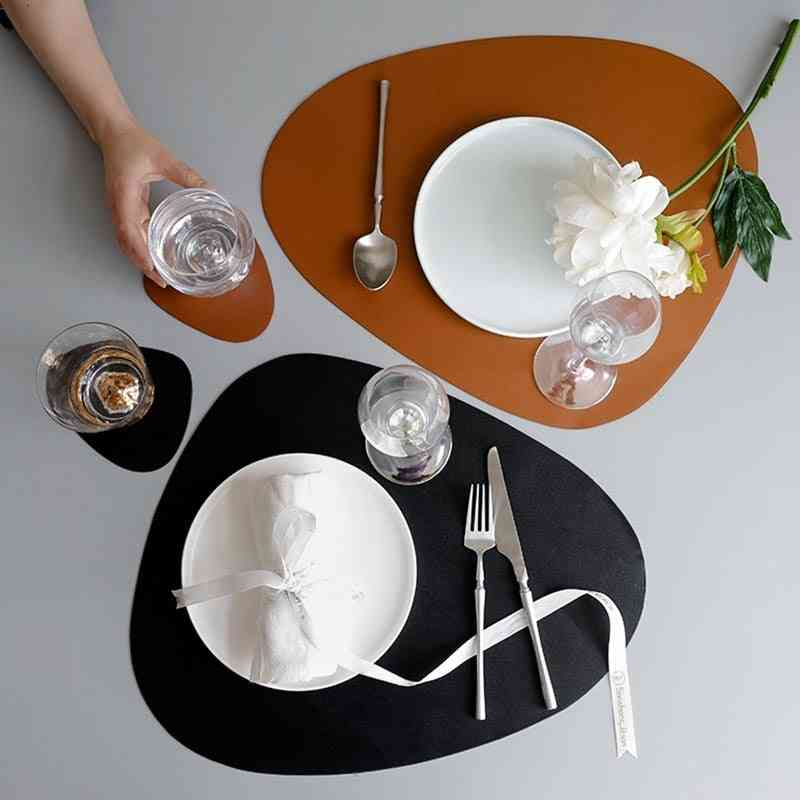 Leather Oil Insulation Pads Bowl Mat, Coaster Plate Tableware Pad