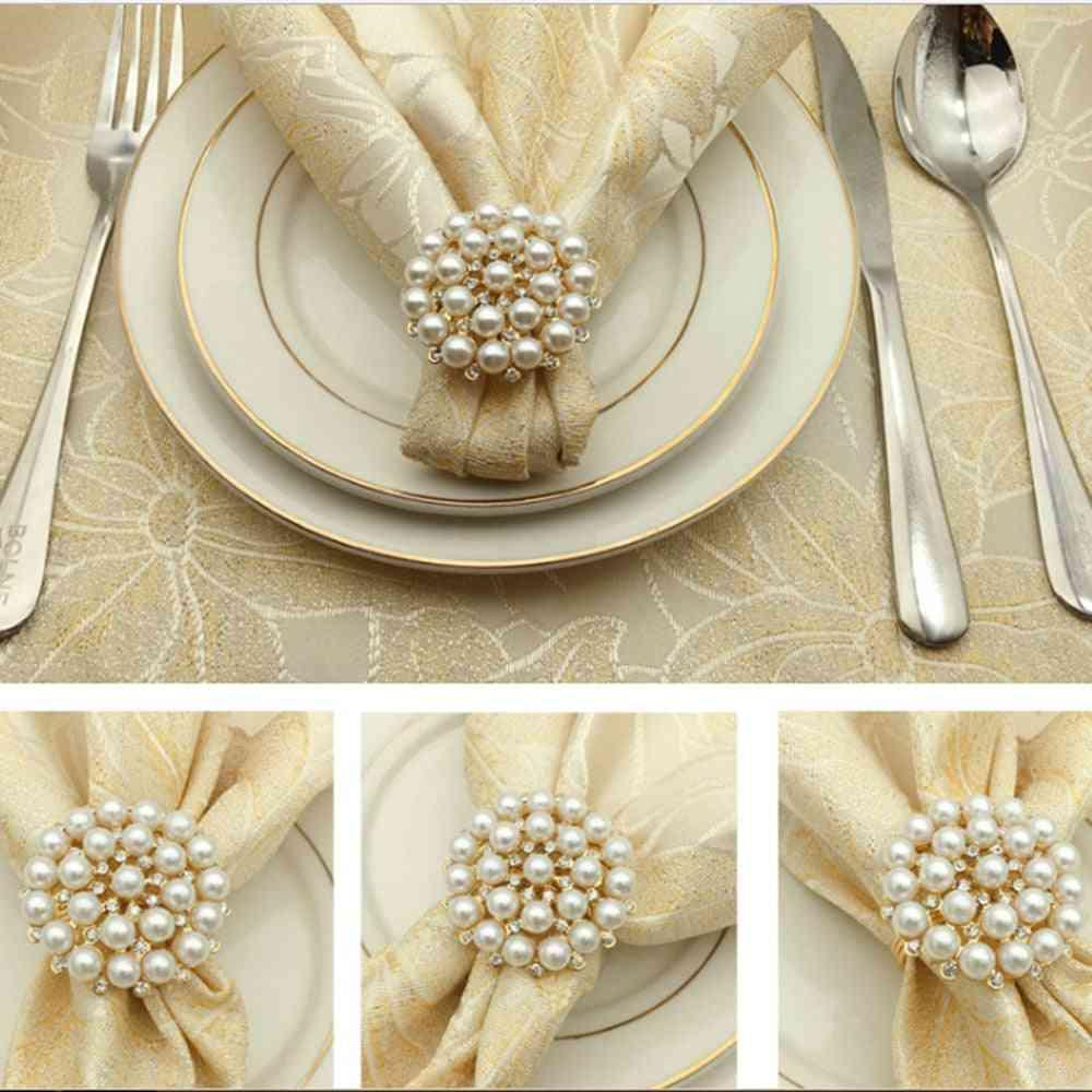 Gold Plated Diamond Pearl Napkin Buckle