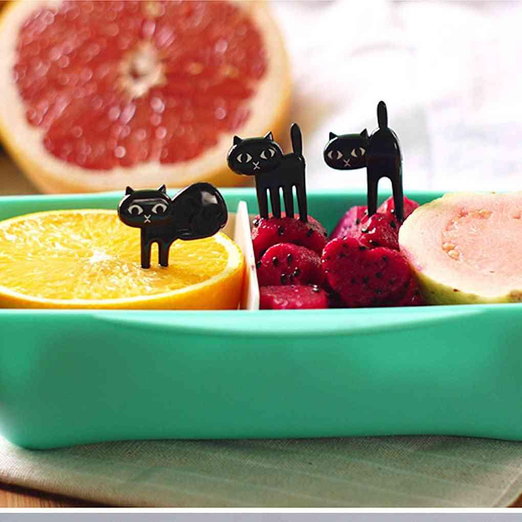 Black Cat Fruit Fork, Cartoon Food Mini Picks