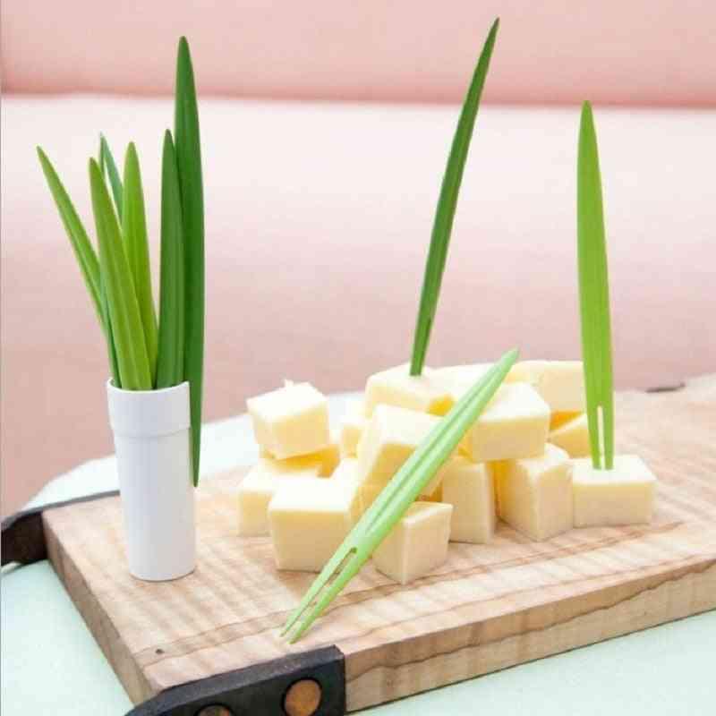 Multi-purpose Bamboo Leaf Shaped Fruit Fork