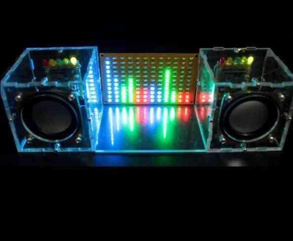 Music Spectrum Led Flash Kit + Diy Amplifier Speaker Kit Acrylic Case