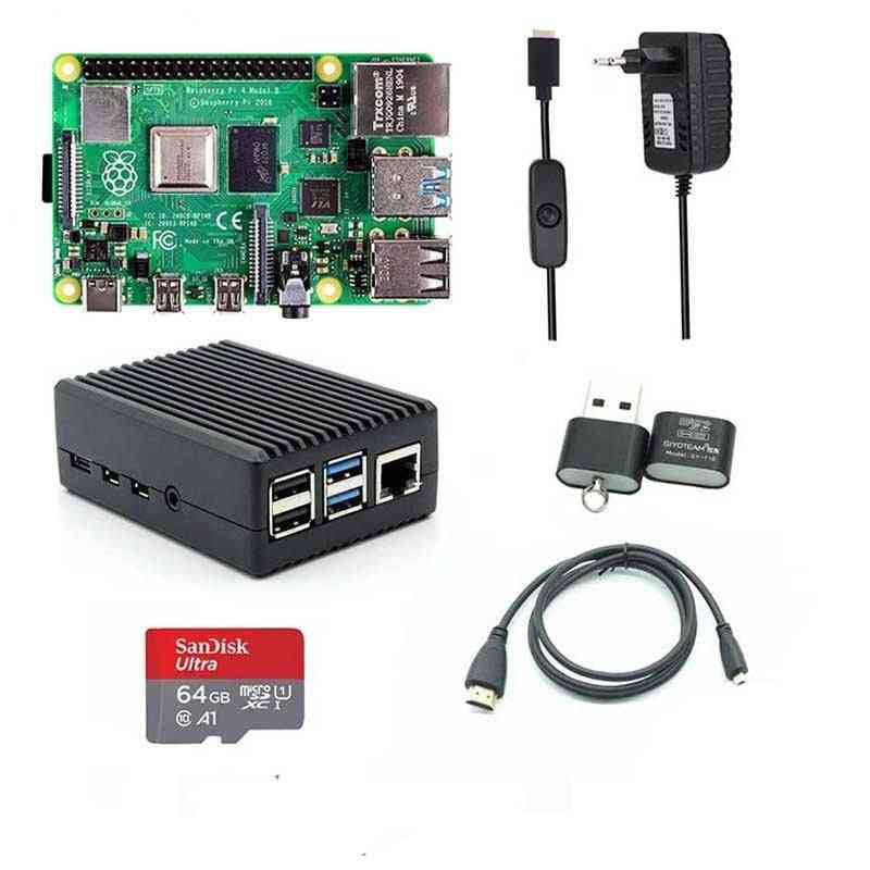 Case Power Supply Aluminum Heatsink + Hdmi-compatible Cable For Raspberry Pi
