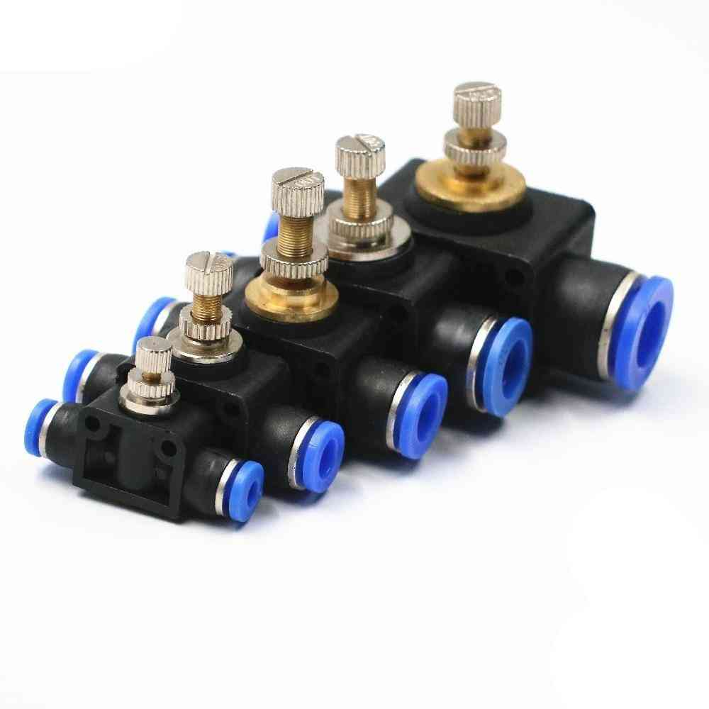 Throttle Valve, Air Flow Speed Control Tube, Water Hose, Pneumatic Push In Fittings