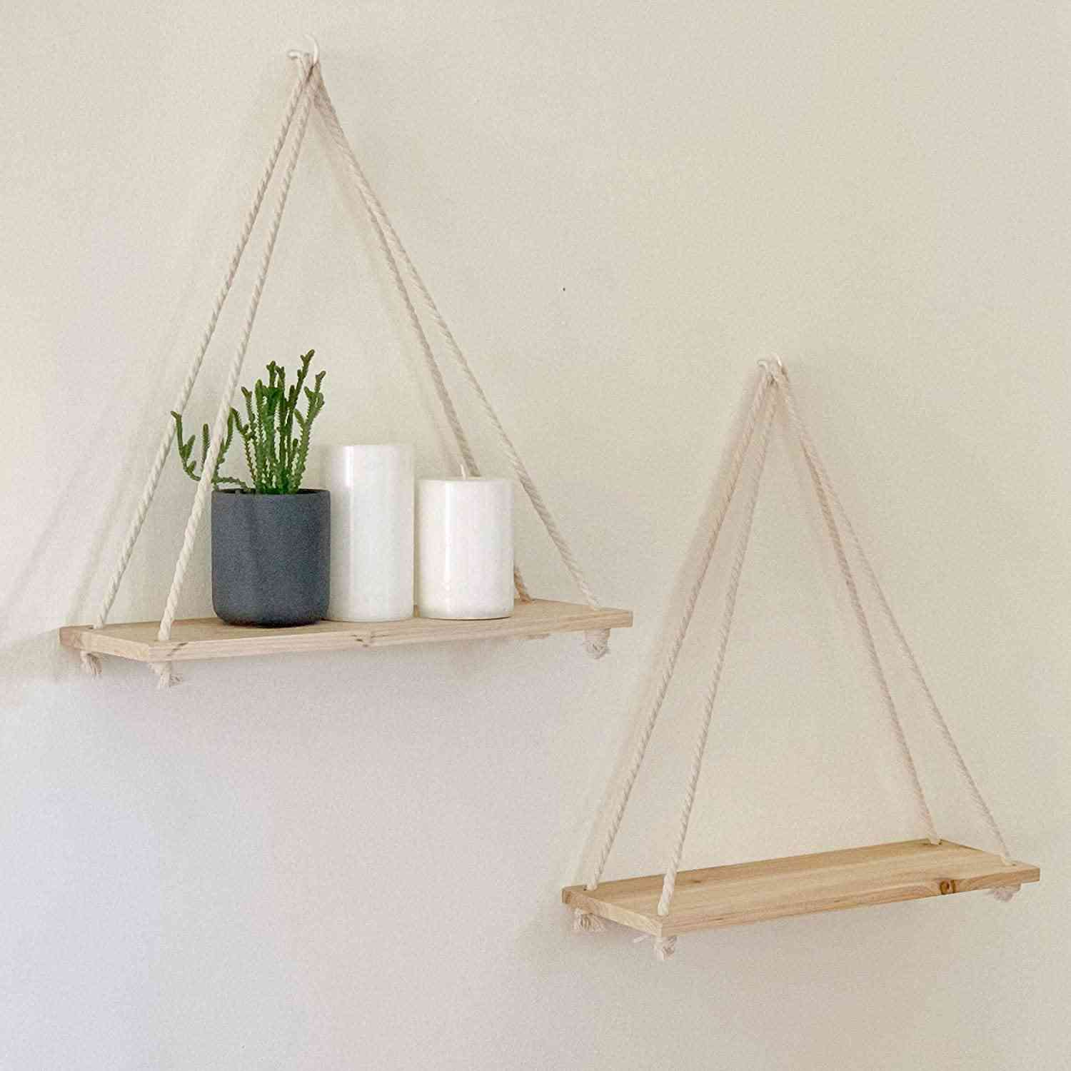 Wooden Rope Swing Wall Hanging Plant Flower Pot Tray