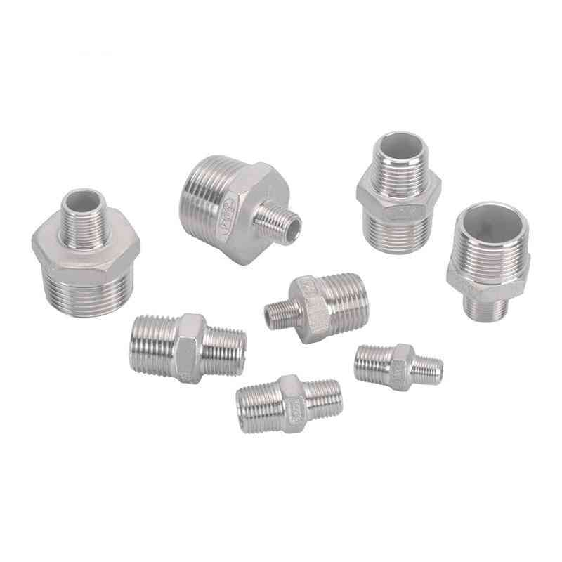 Stainless Steel Hex Nipple Fitting Coupler Adapter Bspt Male To Male Thread