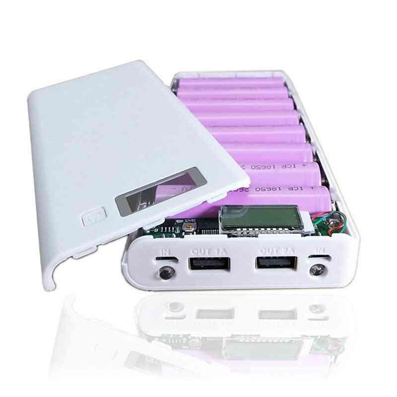 8*18650 Battery Holder Dual Usb Power Bank Battery Box