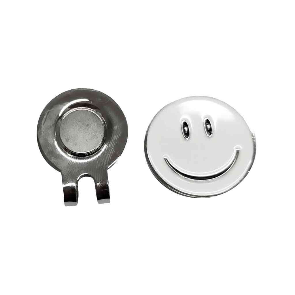 Cute Smile Face Pattern Golf Ball Marker With Magnetic Golf Hat Clip