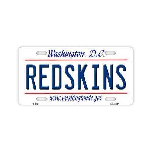 License Plate, Metal Vanity Tag Cover, Washington Redskins, 12