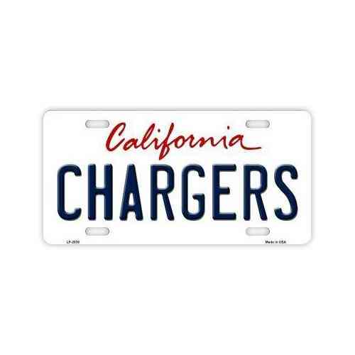 License Plate, Metal Vanity Tag Cover, San Diego Chargers, 12