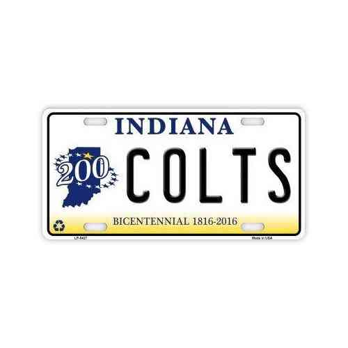 License Plate, Metal Vanity Tag Cover, Indianapolis Colts Football,