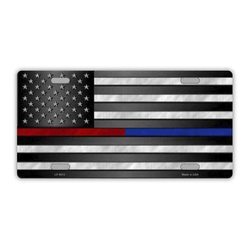License Plate, Metal Vanity Tag Cover, United States Flag Thin Red