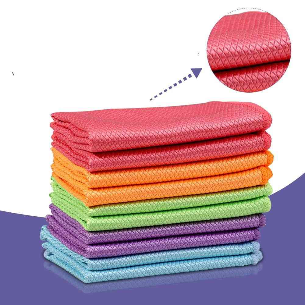 Glass Cleaning Dishcloth Lint Free, Reusable Fish Scale Rag