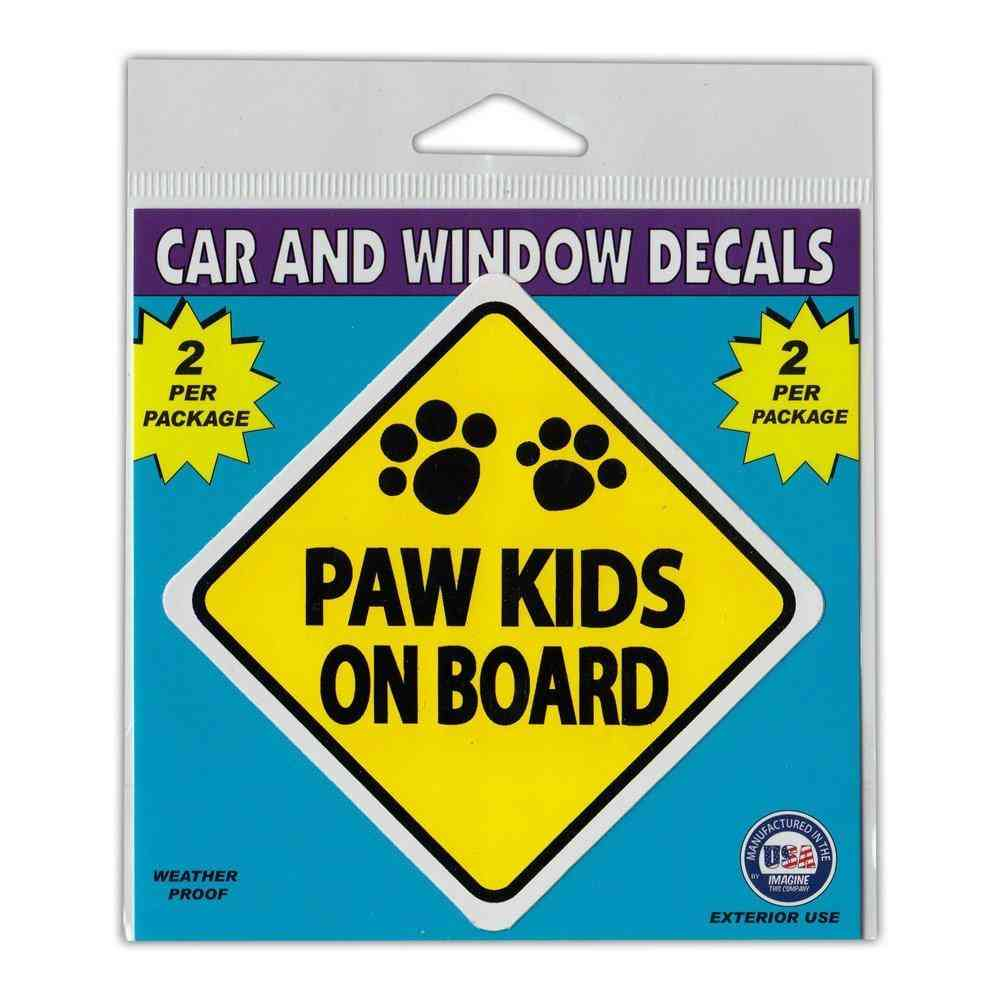 Window Decals, 2-pack, Caution Paw Kids On Board, 3