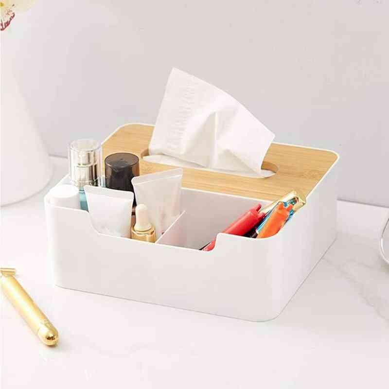 Facial Tissue Box Cover, Multifunctional Desk Organizer