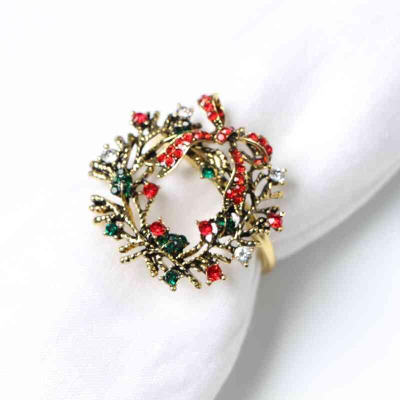Christmas Wreath Napkin Rings, Metal Napkin Buckle