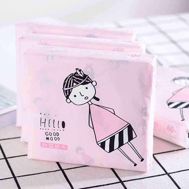 3 Ply Disposable Facial Paper Tissues, Cute Colorful Cartoon Printing Napkins