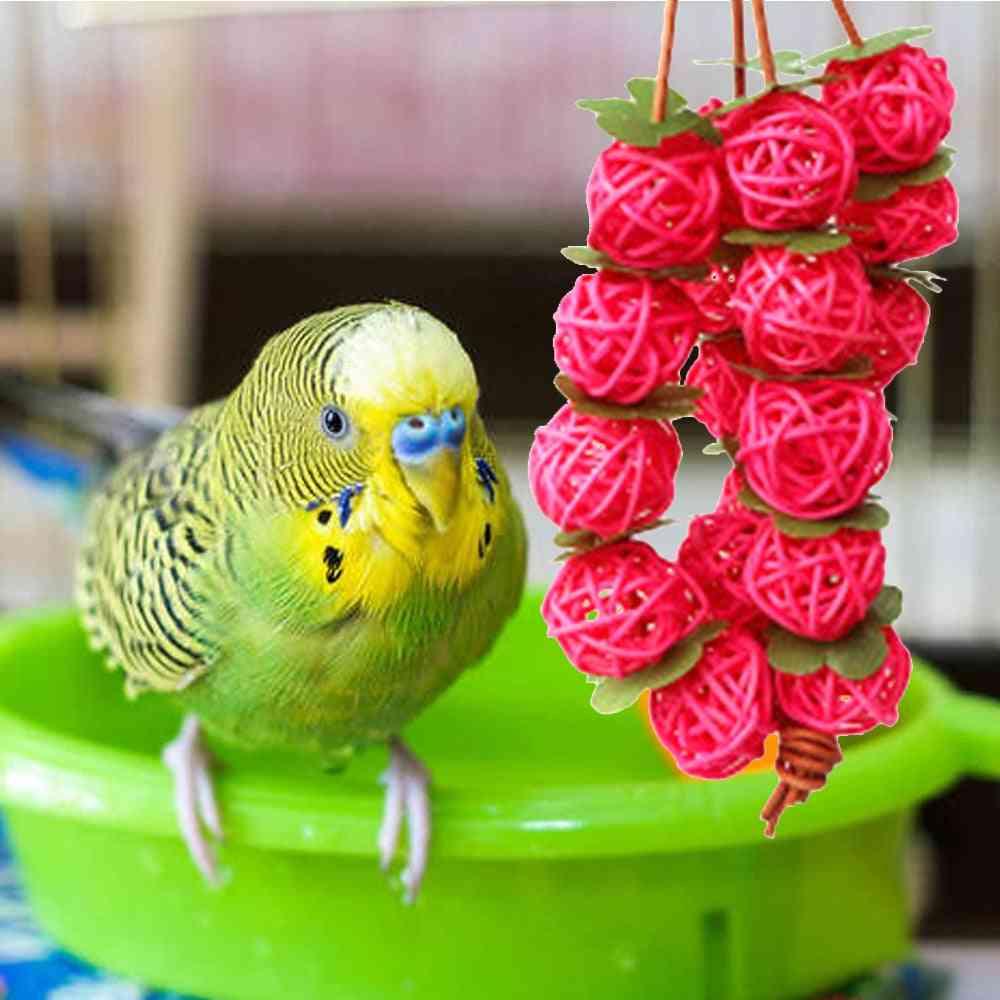 Parrots Hanging Rattan Balls Interactive Chew Toy