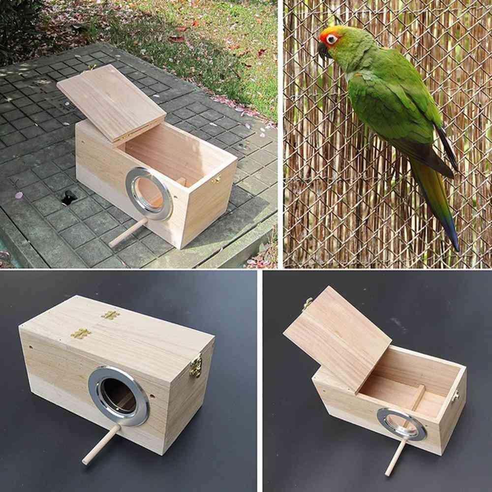 Wooden Bird Cage Nesting Box Breeding Hatching Nest