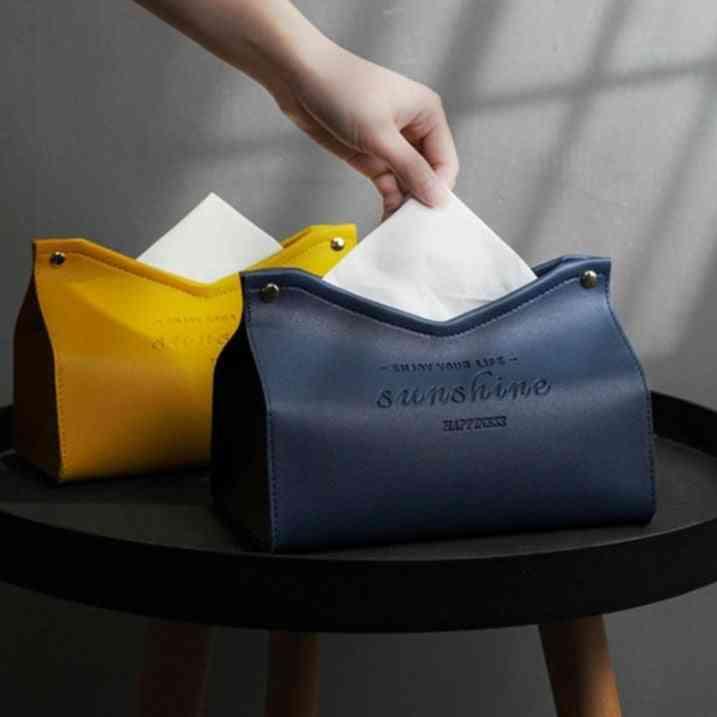 Kitchen Desktop Nordic Leather Tissue Box