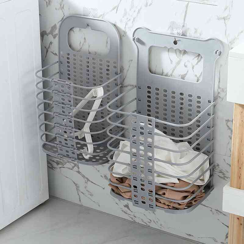 Plastic Dirty Laundry Basket With 2 No Drilling Hooks