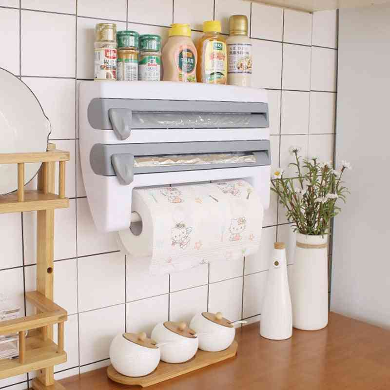 Wall-mount Paper Towel Holder/sauce Bottle Rack 4 In 1 Cling Film Cutting Holder