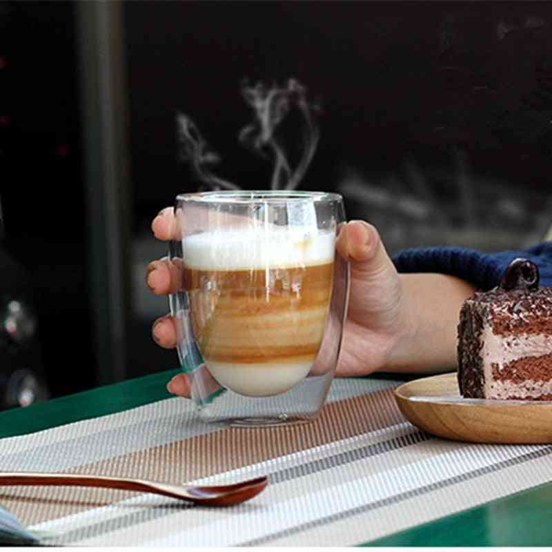 Heat Resistant Double Wall Tea Glass Cup Beer Coffee Cup Set