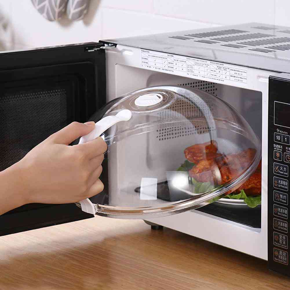Professional Microwave Food Anti-sputtering Cover With Handle
