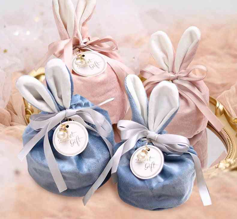 Cartoon Rabbit Ears Velvet Bags Baking Candy Cookie Packaging Bag