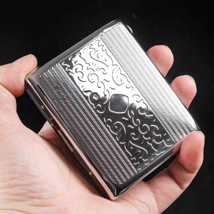 Silver Portable Metal Cigarette Case