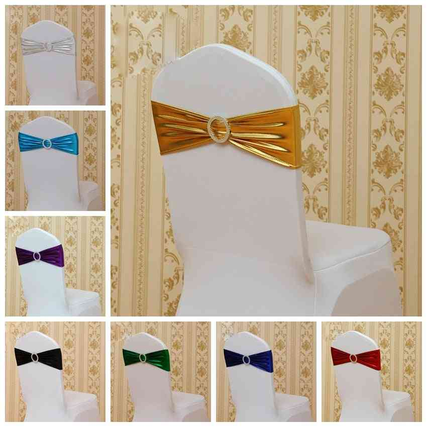 Spandex Bands Shiny Ribbon With Round Buckle, Decoration Chair Sashes