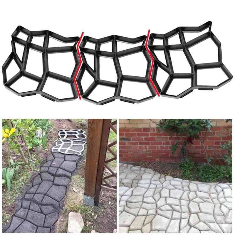 Stone Paving Mold Concrete Stepping Walkway Paver 9 Grids