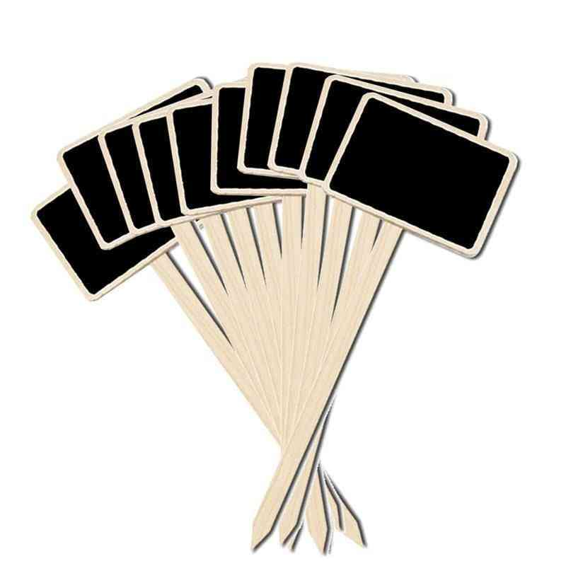 Mini Wooden Creative Blackboard Signs, Flowers And Plants Tags