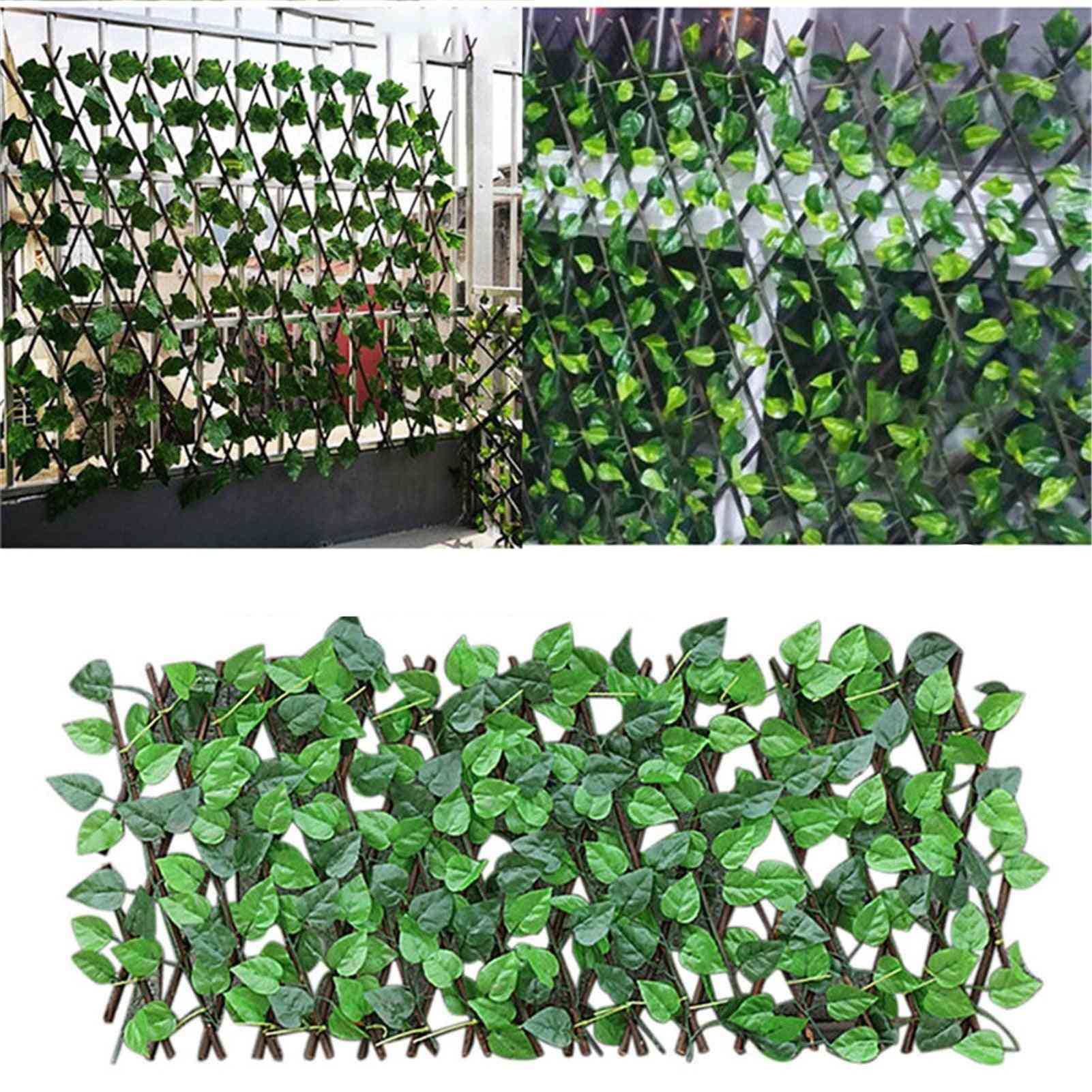 Green Vines Wooden Expandable Faux Privacy Fence