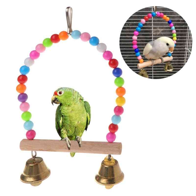 Natural Wooden Birds Perch Parrots Hanging Swing Cage