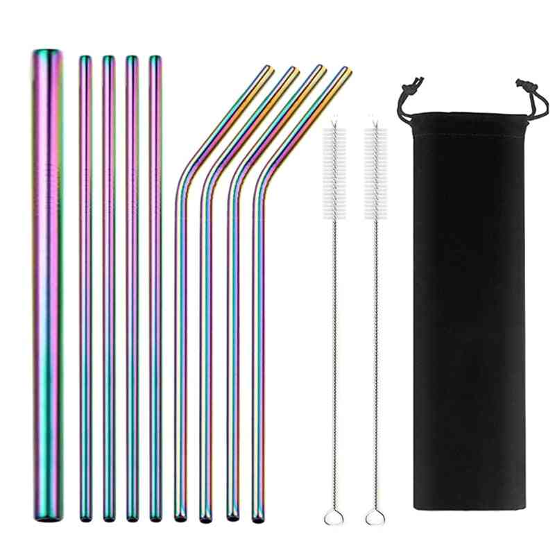 Reusable Metal Drinking Straws With Cleaning Brush Bar Party Accessory
