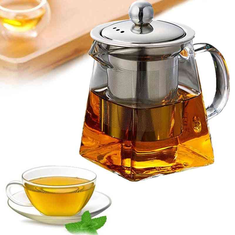 Heat Resistant Glass Tea Pot With Infuser Container / Kettle Square Filter Baskets