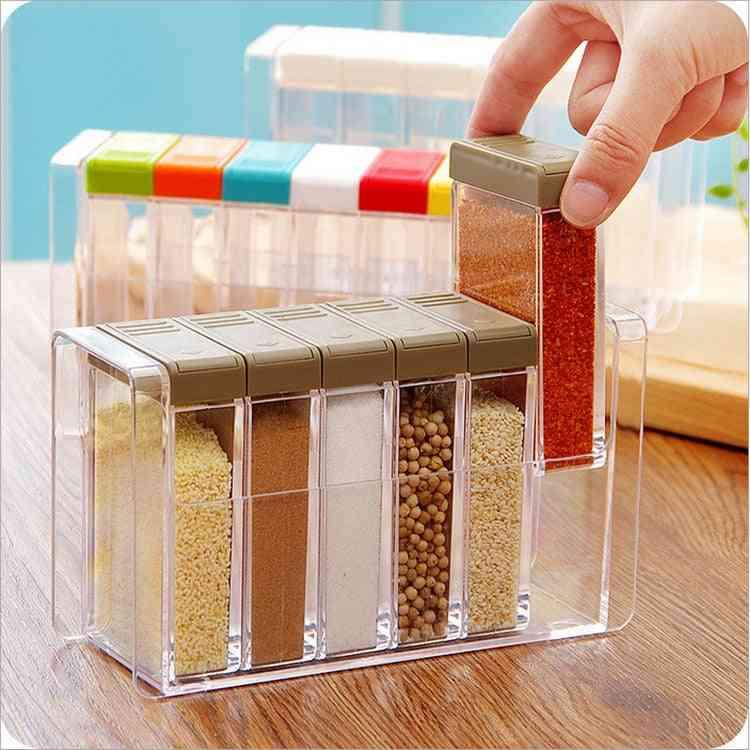Transparent Spice Jar Set Kitchen Condiment Cruet Storage Container