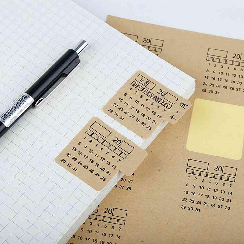 Sheets Kraft Paper, Handwritten Calendar Notebook, Index Sticker, Organizer, Cute Stationery School