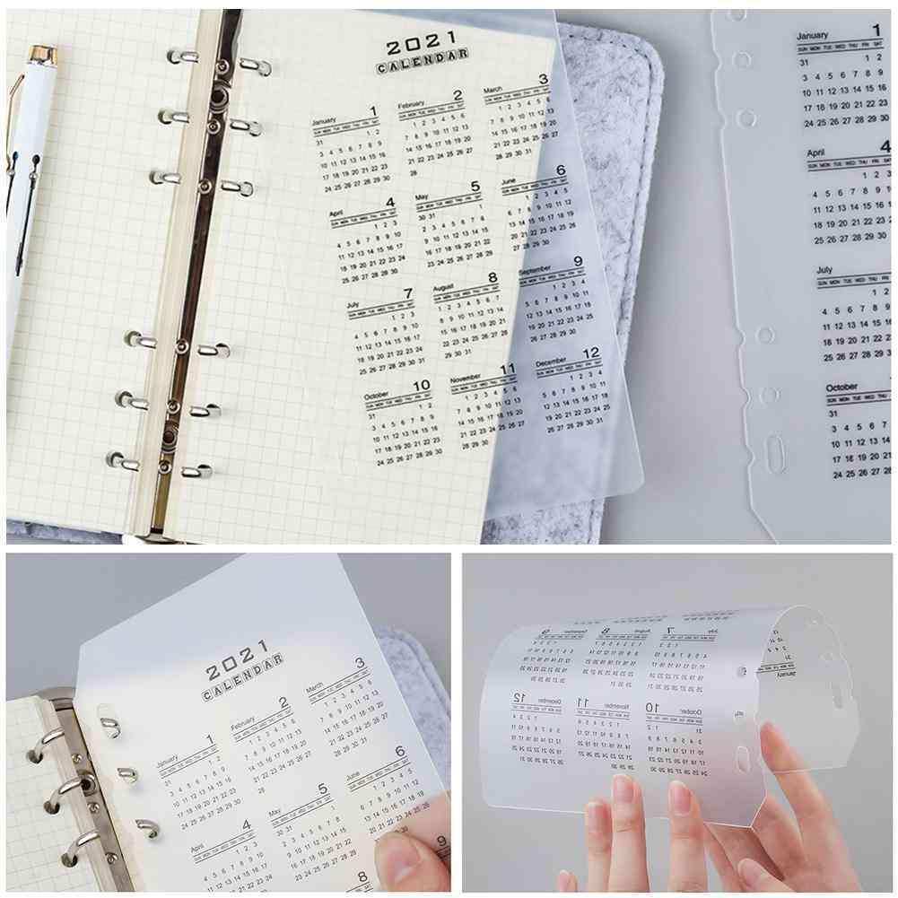 Calendar Pp Divider, Holes Loose Leaf Notebook, Sheet Clip, Index Inner Filofax Category Binder Planner