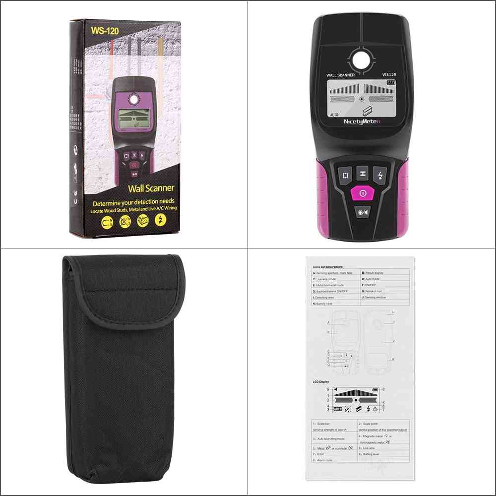 Wall Scanner, Digital, Handheld, Professional Multifunction Detector, Live Wires Cable, Pvc Water Pipe Metal Finder