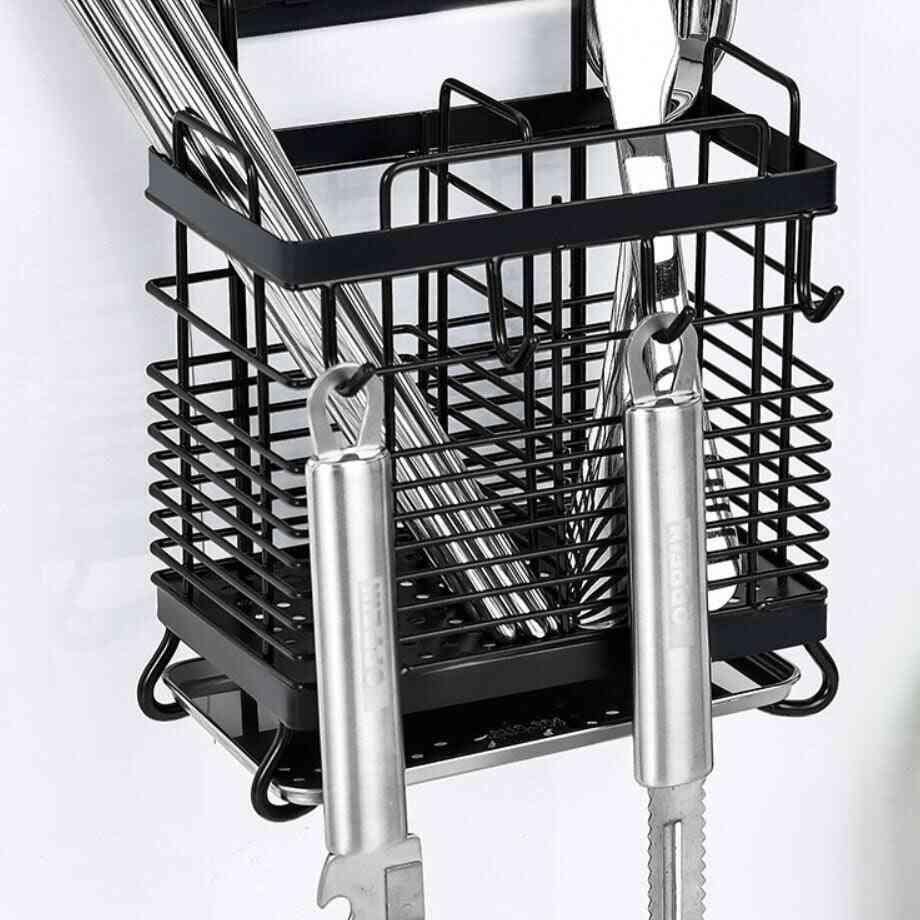 Stainless Steel Chopsticks Spoon Fork Cutlery Drying Hook Rack