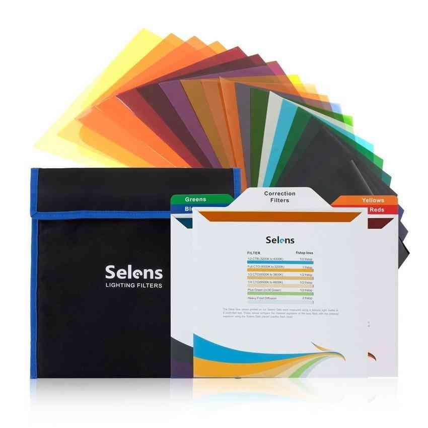 Selens Lighting Gel Filters Transparent Colour Correction Light Sheet Film Kit