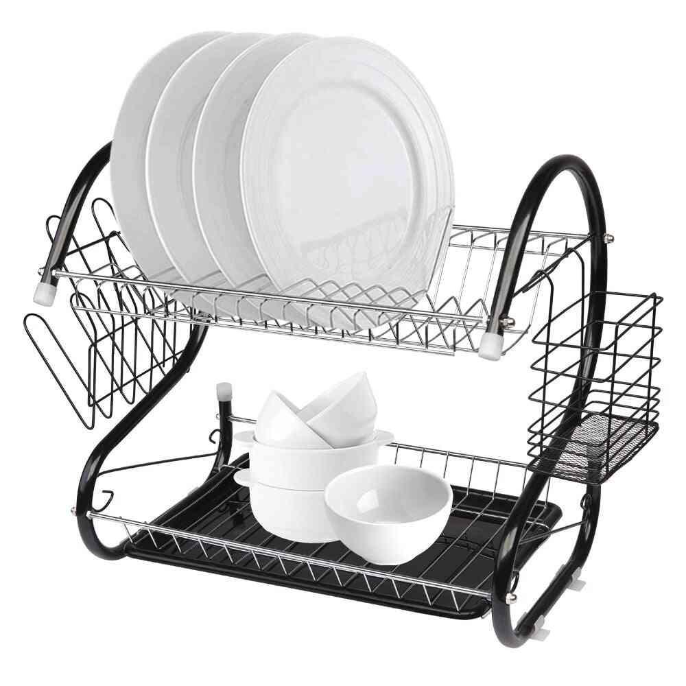 Multifunctional S-shaped Dual Layers Shelf Dish Rack