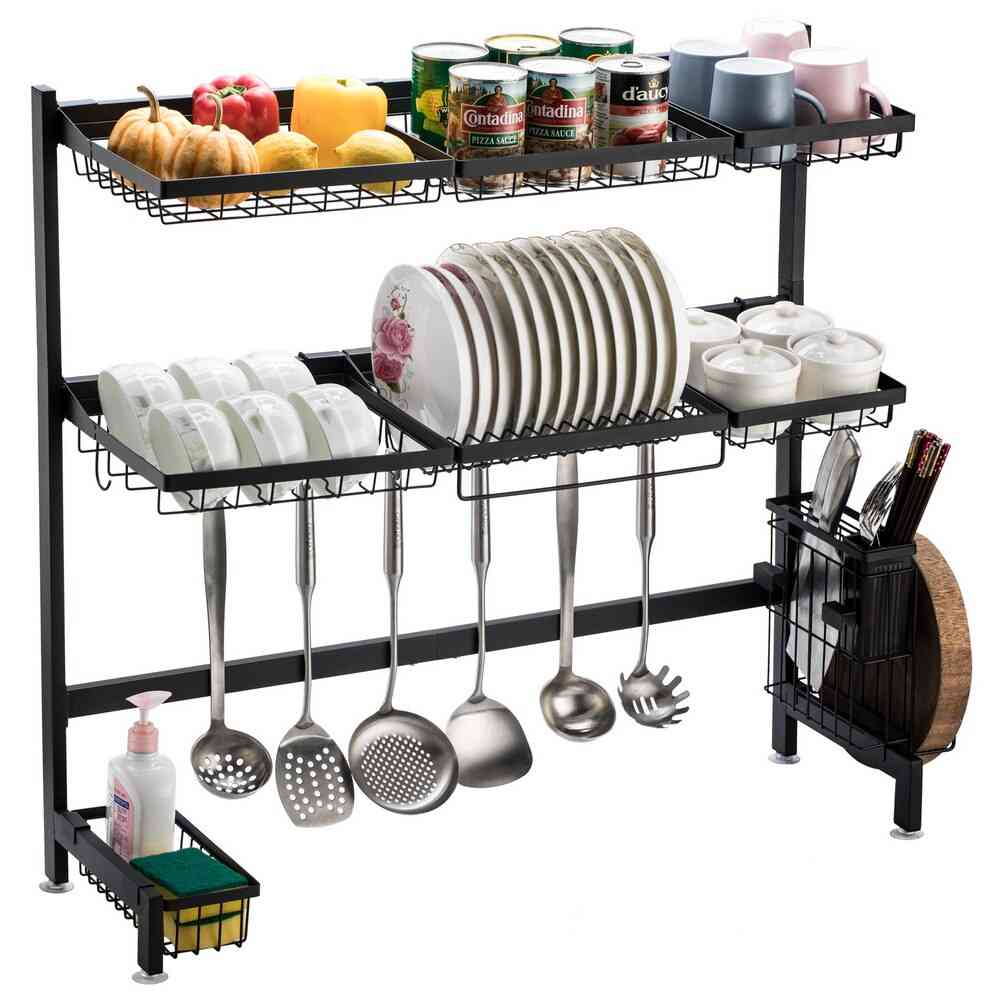 Stainless Steel Double Layer Bowl Rack