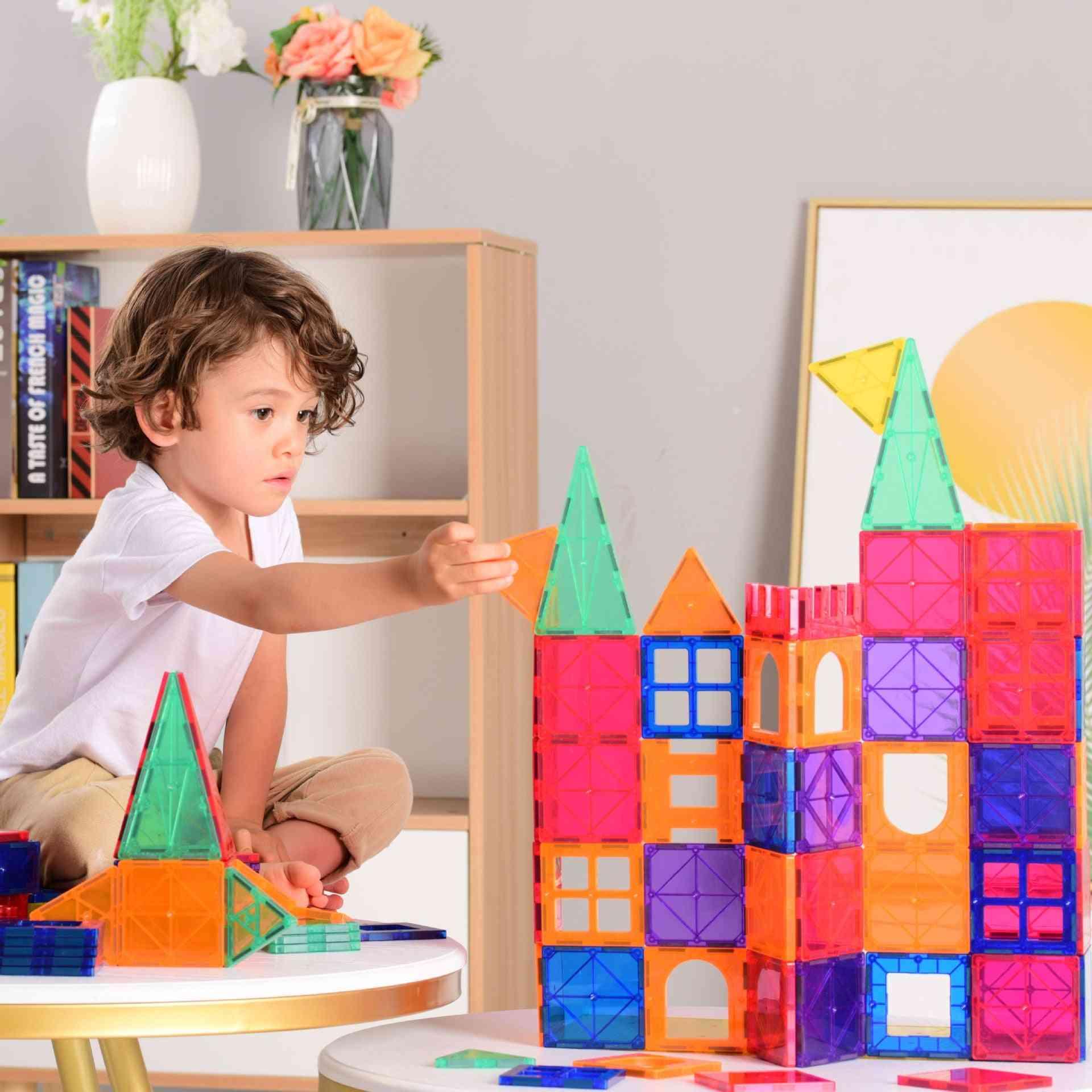 48/78/120 Pcs Colorful Windows Magnetic Tile Building Blocks Construction Set